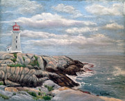 Atlantic Ocean Pastels Metal Prints - Morning at Peggys Cove Nova Scotia Metal Print by Fiona Graham