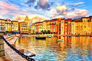 Portofino Italy Painting Posters - Morning at Portofino Poster by Dominic Piperata