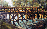 Old North Bridge Paintings - Morning at the Old North Bridge by Rita Brown