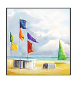 Flags Paintings - Morning at the South End by Dianna DonFrancisco