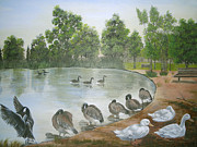 Park Scene Paintings - Morning Bath by Prashanti Art