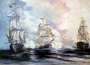 Tall Ships. Marine Art Paintings - Morning Battle by Lee Piper