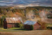 Barns Mixed Media Acrylic Prints - Morning Burn Acrylic Print by Fran J Scott