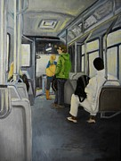 Montreal Paintings - Morning Bus by Reb Frost