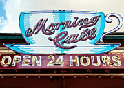 Twenty-four Framed Prints - Morning Call Neon Cup Sign in New Orleans Framed Print by Kathleen K Parker