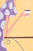 Dots Paintings - Morning Coffee by Christy Beckwith