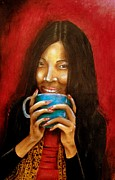 Original Art Pastels Originals - Morning coffee by Michael Alvarez