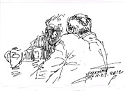 Men Talking Drawings - Morning Coffee by Ylli Haruni