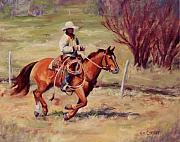 Roping Horse Paintings - Morning Commute working cowboy western art by Kim Corpany