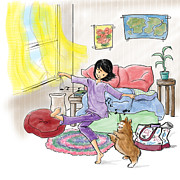 Pajamas Prints - Morning  Dance Print by Monette Pangan