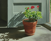 Red Geranium Posters - Morning Door Geranium Poster by Nancy Teague
