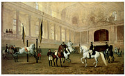 Julius Von Framed Prints - Morning Exercise in the Winter Riding School Framed Print by Julius von Blass