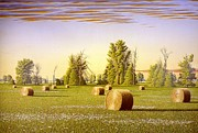 Bales Paintings - Morning Field of Bales by Conrad Mieschke