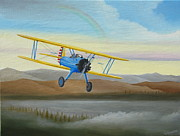 Stearman Framed Prints - Morning Flight Framed Print by Stuart Swartz