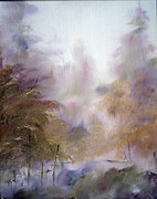 Fog Paintings - Morning fog by Alena Samsonov