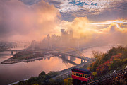 Pittsburgh Skyline.  Framed Prints - Morning Fog  Framed Print by Emmanuel Panagiotakis