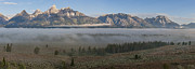 Panoramic Photographs Framed Prints - Morning Fog in Grand Teton Framed Print by Sandra Bronstein