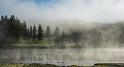 River Greeting Cards Photos - Morning Fog on the Yellowstone by Sandra Bronstein