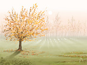 Autumn Digital Art Metal Prints - Morning fog Metal Print by Veronica Minozzi