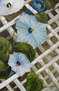 Lattice Painting Metal Prints - Morning Glories on Lattice Metal Print by Barbara Haviland