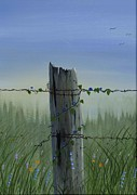 Barbed Wire Paintings - Morning Glories by Ray Huffman