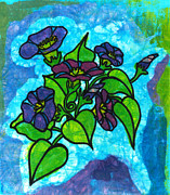 Batik Tapestries - Textiles Posters - Morning Glories Poster by Toni McCullough