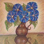 Morning Pastels Originals - Morning Glories with Pink Background by Claudia Cox