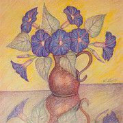 Pencil Drawing Pastels Posters - Morning Glories with Yellow Background Poster by Claudia Cox