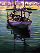 Boats In Water Paintings - Morning Has Broken by David  Van Hulst