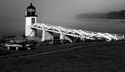 Haze Digital Art Prints - Morning Haze Over Marshall Point Lighthouse Print by John Hoey