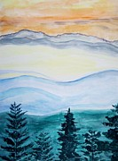 Occasion Painting Framed Prints - Morning hills Framed Print by Sonali Gangane