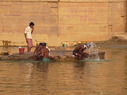 Hair-washing Photo Prints - Morning Hygiene Routine in Ganga Print by Agnieszka Ledwon