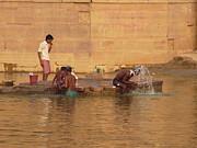 Morning Hygiene Routine In Ganga Print by Agnieszka Ledwon