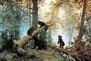 Black Bear Cubs Prints - Morning In A Pine Forest Print by Ivan Shishkin
