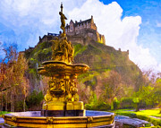Princes Digital Art Posters - Morning In The Gardens Below Edinburgh Castle Poster by Mark E Tisdale