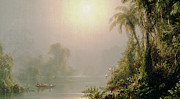 Tree Leaf On Water Posters - Morning in the Tropics Poster by Frederic Edwin Church