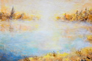 Cold Morning Sun Paintings - Morning lake by Jiri Capek