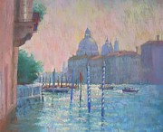 Early Morning Pastels Prints - Morning Light from the Academia Bridge Print by Jackie Simmonds