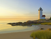 Lighthouse At Sunset Prints - Morning Light Print by James Charles