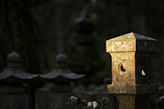 Koya Framed Prints - Morning light on a lantern at Okunoin graveyard Framed Print by Ruben Vicente