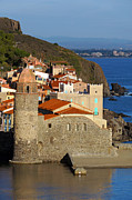Village By The Sea Photo Posters - Morning lights on the coastal church of Collioure Poster by Vilainecrevette