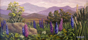 Lupines Paintings - Morning Lupines by Sharon E Allen