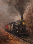 Wisconsin Paintings - Morning Mist Soo Line 1003 by Tom Shropshire