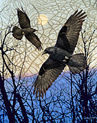Ravens Digital Art Posters - Morning Mists Poster by Judy Wood