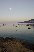 Sea Moon Full Moon Photo Metal Prints - Morning Moon Metal Print by Sophie De Roumanie