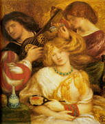 Romanticism Posters - Morning Music Poster by Dante Gabriel Rossetti