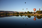 Prosser Balloon Rally Prints - Morning on the Yakima River Print by Carol Groenen