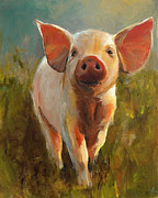 Piglet Paintings - Morning Pig by Cari Humphry