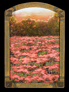 Splashy Metal Prints - Morning Poppy Fields with Gold Leaf by Vic Mastis Metal Print by Vic  Mastis