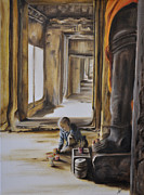 Angkor Paintings - Morning Prayers by Andrea Vreken